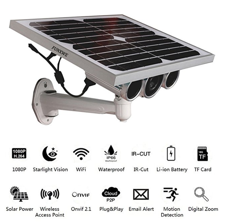 FUNXWE 1080 Full-HD Solar Power WiFi Security Camera