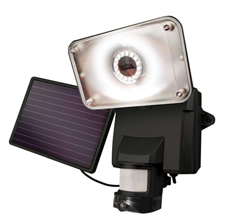 MAXSA Solar Powered Wireless Outdoor Video Security Camera with Floodlight