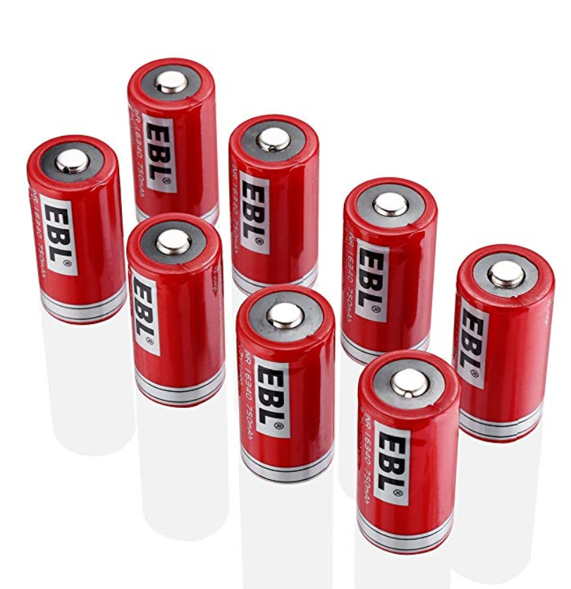 EBL RCR123A Li-ion rechargeable 3.7V 750 mAh